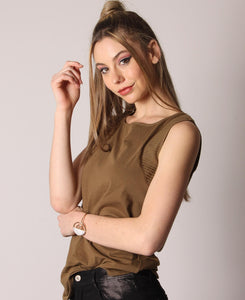 Casual Sleeveless Top - Olive