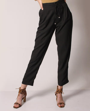 Drawstring Casual Pants - Black