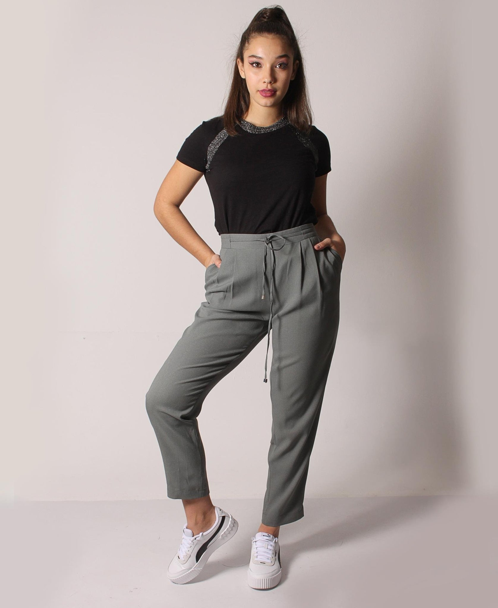 Drawstring Casual Pants - Olive