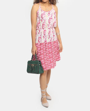 Printed Viscose Dress - Pink