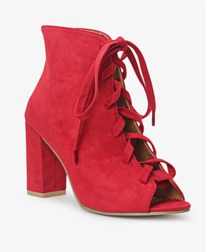 Lace Up Heels - Red