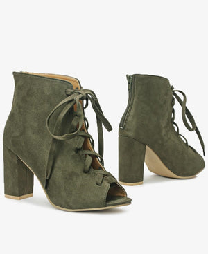 Lace Up Heels - Olive