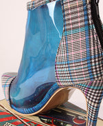 Ladies Blue Check Print Clear Ankle Boots - Boots