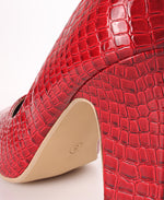 Block Heel Court Shoes - Burgundy