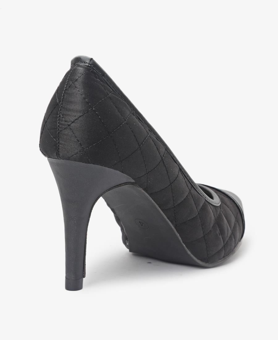 Quilted Court Heels - Black
