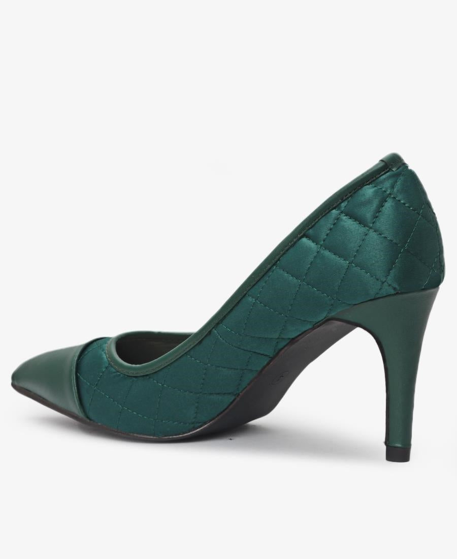 Quilted Court Heels - Green