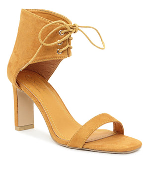 Lace Up Heels - Mustard