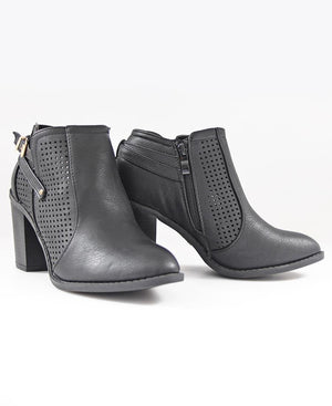 Lazer Cut Boots - Black
