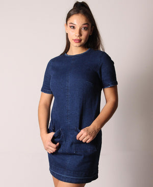Denim Pocket Shift Dress - Blue