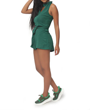 Bubble Chiffon Short Jumpsuit - Green