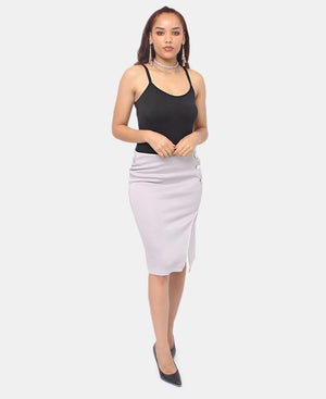 Button Detail Skirt - Grey
