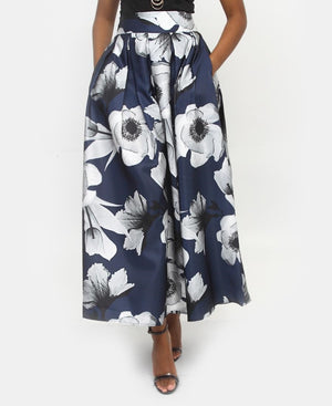 Floral Flare Skirt - Navy