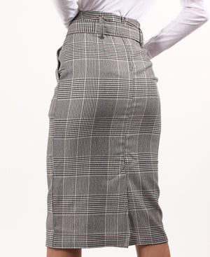 Check Knee Length Belted Skirt - Black-White
