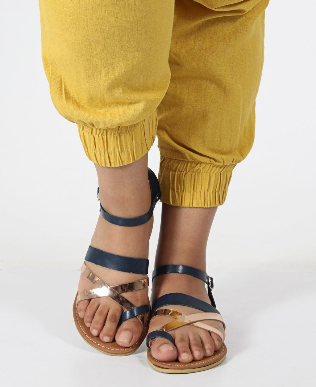 Buckle Strappy Flat Sandals - Navy