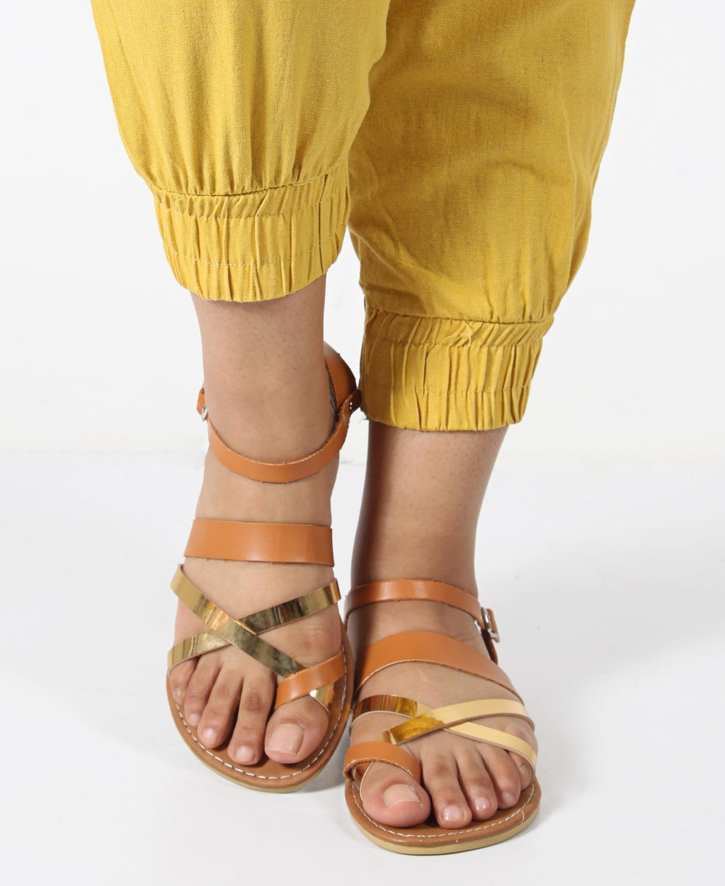 Buckle Strappy Flat Sandals - Tan