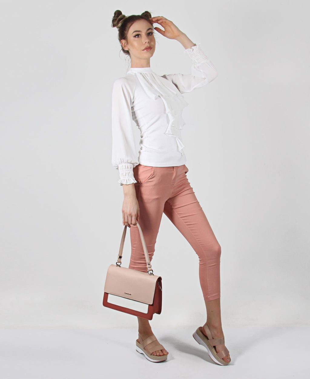Mid Rise Skinny Pants - Coral