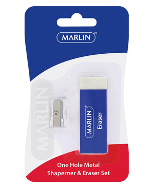 Marlin Metal Sharpener And Eraser Set - White