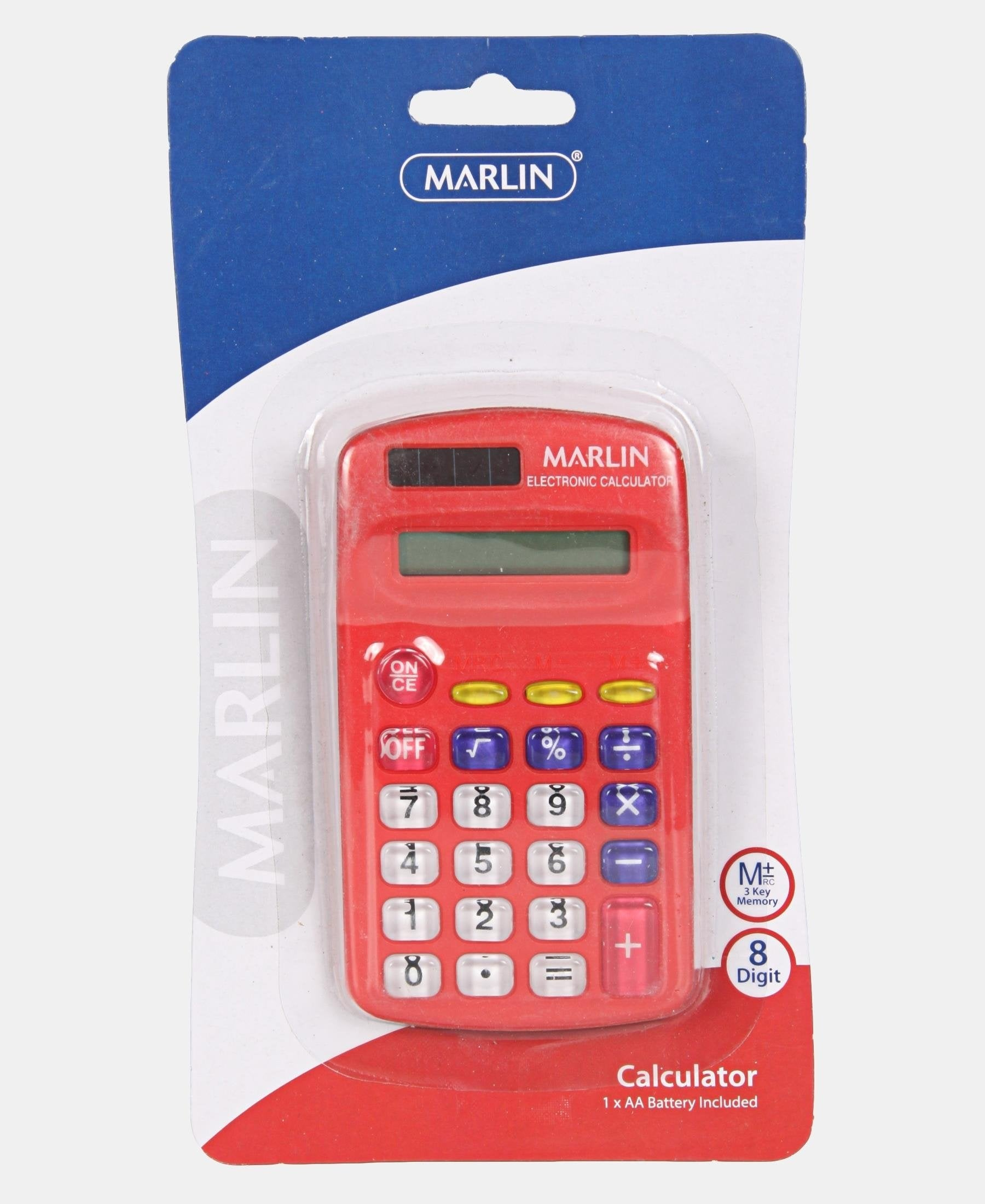 Marlin 8 Digit Electronic Calculator - Red