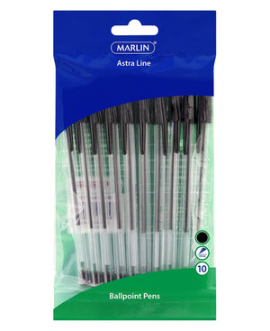 Marlin 10 Pack Ball Point Pens - Black
