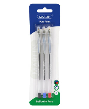 Marlin 3 Pack Ball Point Pens - Multi