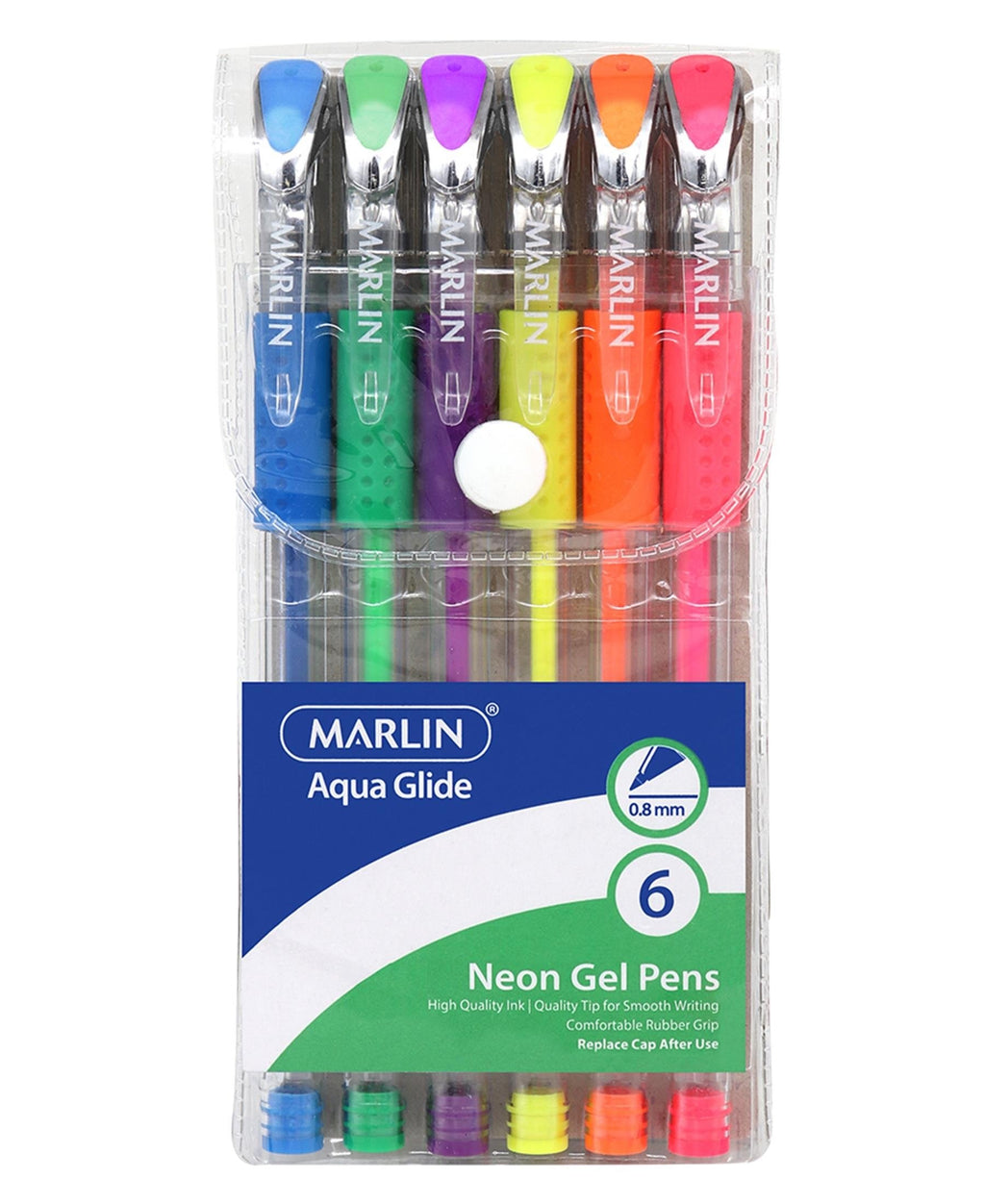 Marlin 6 Pack Aqua Glide Neon Gel Pens - Multi