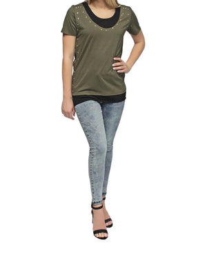 Studded T-Shirt - Olive