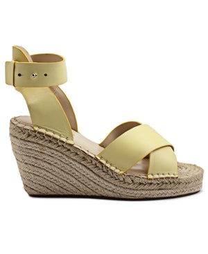 Leather Wedge - Yellow