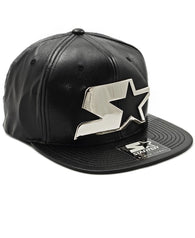 Leather Snapback - Silver