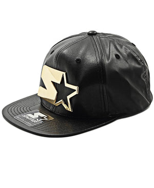 Leather Snapback - Gold