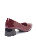 Block Heel - Burgundy