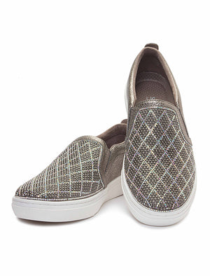 Goldie-Diamond Sneaker - Pewter