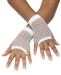 Short Fishnet Gloves - White