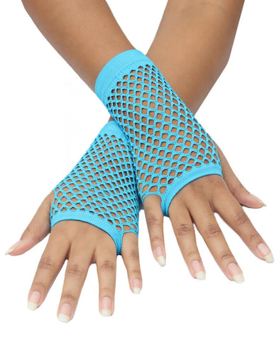 Short Fishnet Gloves - Light Blue