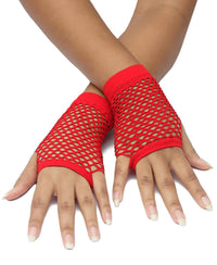Short Fishnet Gloves - Red