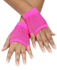 Short Fishnet Gloves - Pink
