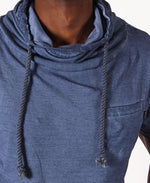 Men's Cowl Neck Drawstring Top - Blue