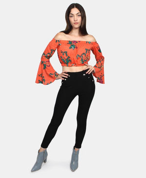 Off Shoulder Crop top - Orange