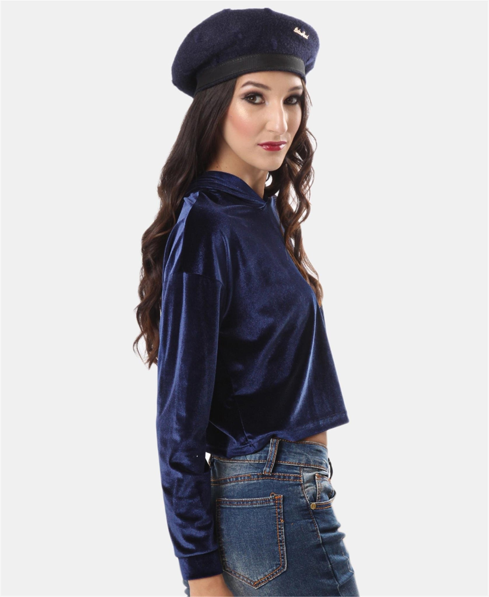 Cropped Velour Hoodie - Navy