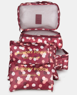 6 Piece Travel Bag Organiser - Burgundy