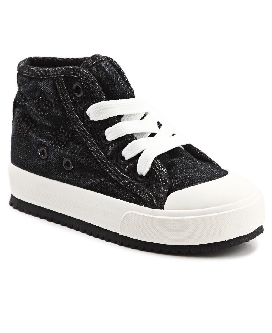 Girls Glow Studded Sneakers - Black