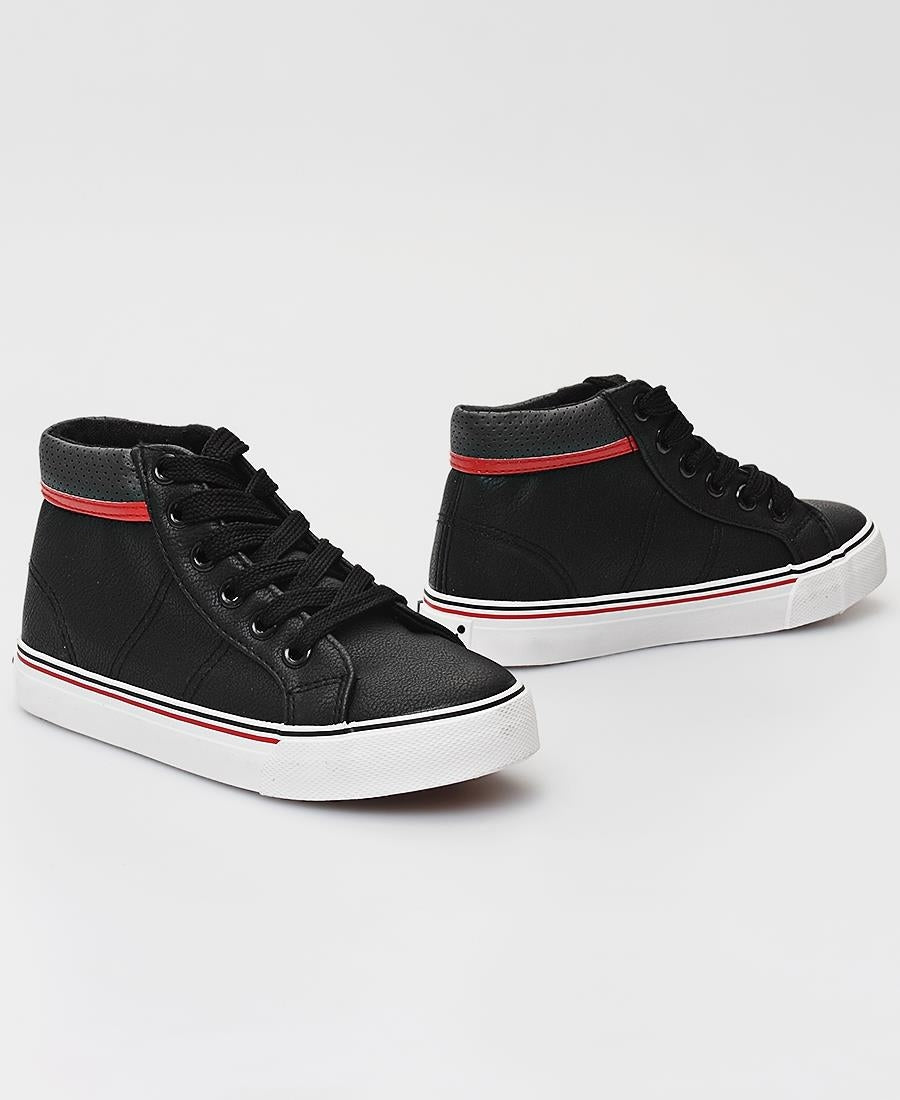 Kids Striped Sneakers - Black