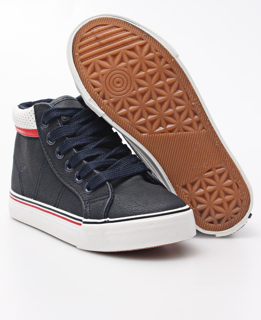 Kids Striped Sneakers - Navy
