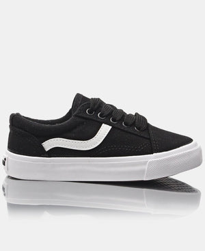 Kids Track Canvas Sneakers - Black
