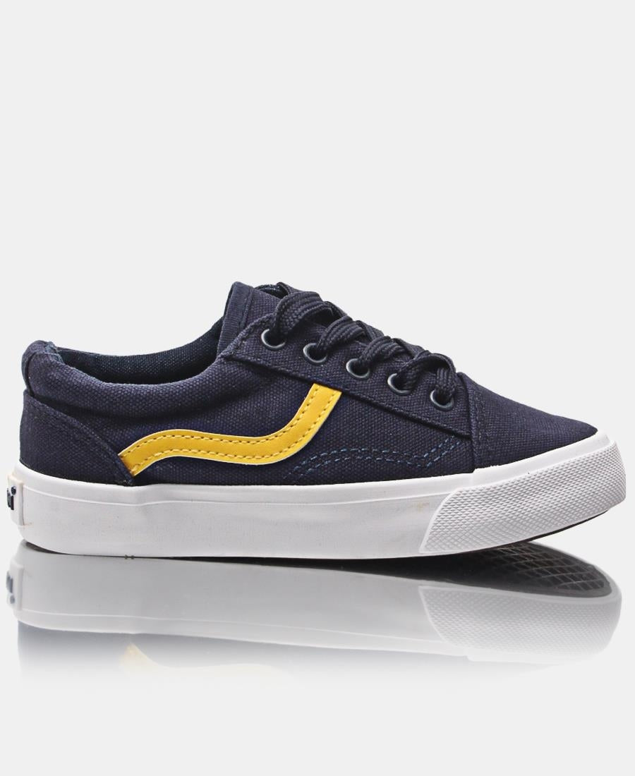 Kids Track Canvas Sneakers - Navy-Yellow