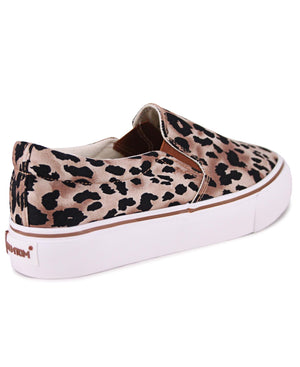 Ladies' Platform Leopard Sneakers - Brown