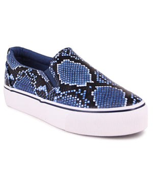 Ladies' Platform Snake Sneakers - Navy