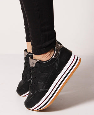 Ladies' Rock Side Stitch Sneakers - Black