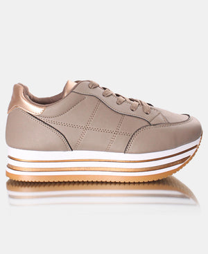 Ladies' Rock Side Stitch Sneakers - Taupe