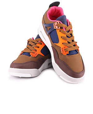 Ladies' Slash Retro Sneakers - Choc