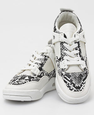 Ladies' Slash Snake Sneakers - White